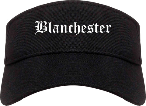 Blanchester Ohio OH Old English Mens Visor Cap Hat Black