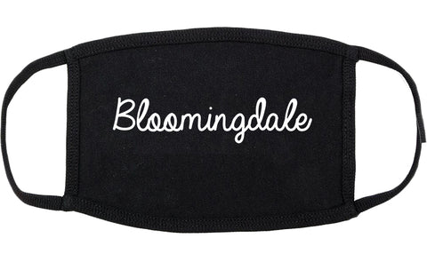 Bloomingdale Illinois IL Script Cotton Face Mask Black