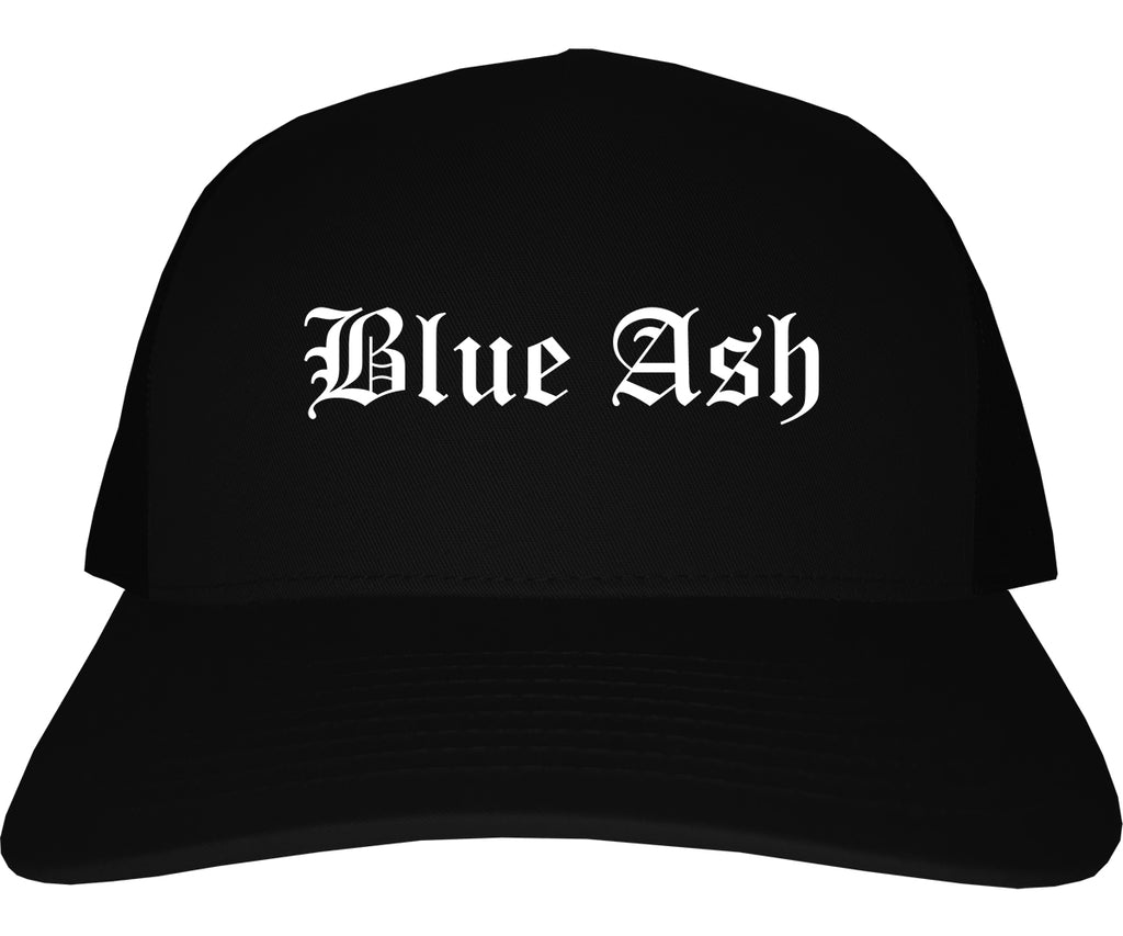 Blue Ash Ohio OH Old English Mens Trucker Hat Cap Black