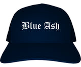 Blue Ash Ohio OH Old English Mens Trucker Hat Cap Navy Blue