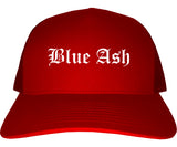 Blue Ash Ohio OH Old English Mens Trucker Hat Cap Red