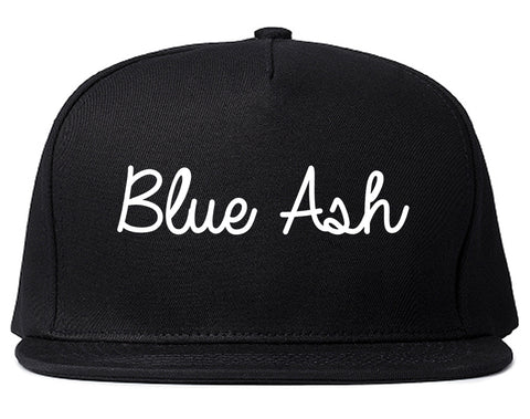 Blue Ash Ohio OH Script Mens Snapback Hat Black