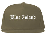 Blue Island Illinois IL Old English Mens Snapback Hat Grey