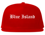 Blue Island Illinois IL Old English Mens Snapback Hat Red