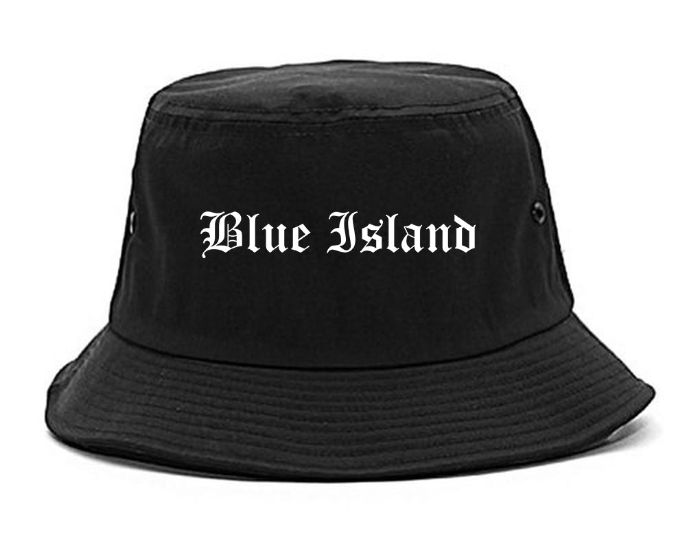 Blue Island Illinois IL Old English Mens Bucket Hat Black
