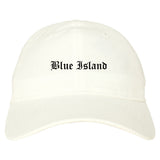 Blue Island Illinois IL Old English Mens Dad Hat Baseball Cap White
