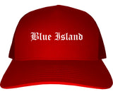 Blue Island Illinois IL Old English Mens Trucker Hat Cap Red