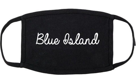 Blue Island Illinois IL Script Cotton Face Mask Black