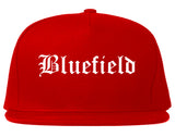 Bluefield Virginia VA Old English Mens Snapback Hat Red