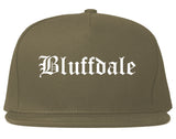 Bluffdale Utah UT Old English Mens Snapback Hat Grey