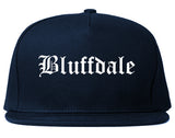 Bluffdale Utah UT Old English Mens Snapback Hat Navy Blue