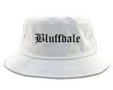 Bluffdale Utah UT Old English Mens Bucket Hat White