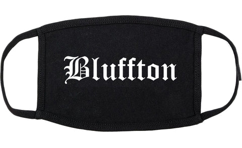 Bluffton Indiana IN Old English Cotton Face Mask Black