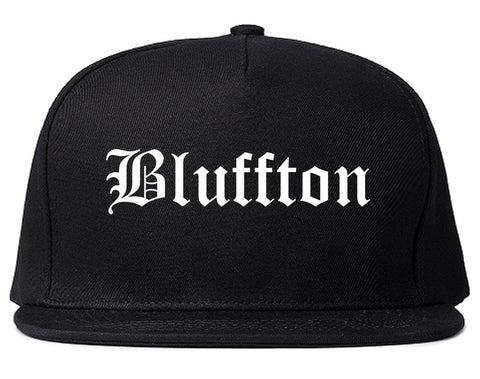 Bluffton Indiana IN Old English Mens Snapback Hat Black