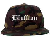 Bluffton Indiana IN Old English Mens Snapback Hat Army Camo