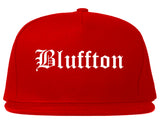 Bluffton Indiana IN Old English Mens Snapback Hat Red