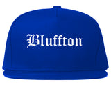 Bluffton Indiana IN Old English Mens Snapback Hat Royal Blue