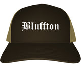 Bluffton Indiana IN Old English Mens Trucker Hat Cap Brown