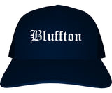 Bluffton Indiana IN Old English Mens Trucker Hat Cap Navy Blue