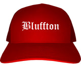 Bluffton Indiana IN Old English Mens Trucker Hat Cap Red