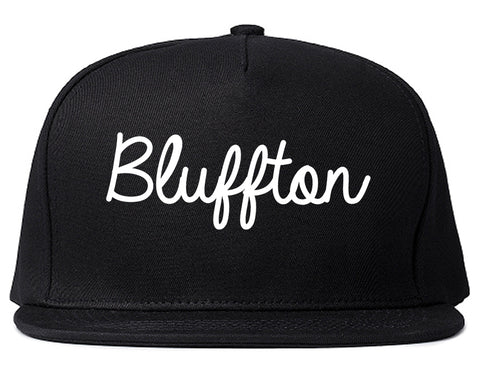 Bluffton Indiana IN Script Mens Snapback Hat Black