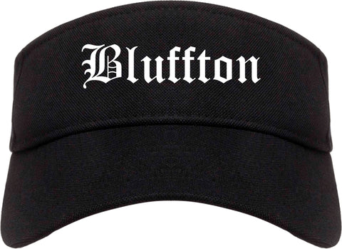 Bluffton Indiana IN Old English Mens Visor Cap Hat Black