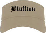 Bluffton Indiana IN Old English Mens Visor Cap Hat Khaki