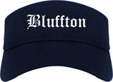 Bluffton Indiana IN Old English Mens Visor Cap Hat Navy Blue