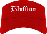Bluffton Indiana IN Old English Mens Visor Cap Hat Red