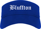 Bluffton Indiana IN Old English Mens Visor Cap Hat Royal Blue