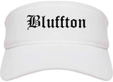 Bluffton Indiana IN Old English Mens Visor Cap Hat White