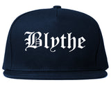 Blythe California CA Old English Mens Snapback Hat Navy Blue