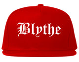 Blythe California CA Old English Mens Snapback Hat Red