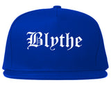Blythe California CA Old English Mens Snapback Hat Royal Blue