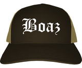 Boaz Alabama AL Old English Mens Trucker Hat Cap Brown