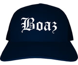 Boaz Alabama AL Old English Mens Trucker Hat Cap Navy Blue