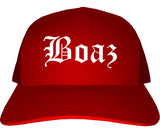 Boaz Alabama AL Old English Mens Trucker Hat Cap Red