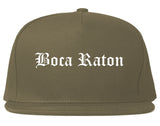 Boca Raton Florida FL Old English Mens Snapback Hat Grey