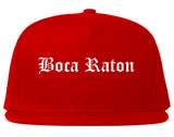 Boca Raton Florida FL Old English Mens Snapback Hat Red