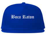 Boca Raton Florida FL Old English Mens Snapback Hat Royal Blue