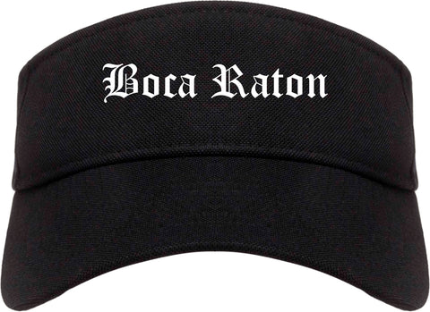 Boca Raton Florida FL Old English Mens Visor Cap Hat Black