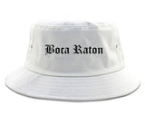 Boca Raton Florida FL Old English Mens Bucket Hat White