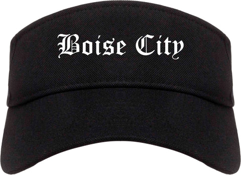Boise City Idaho ID Old English Mens Visor Cap Hat Black