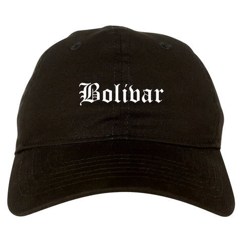 Bolivar Missouri MO Old English Mens Dad Hat Baseball Cap Black