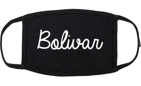 Bolivar Missouri MO Script Cotton Face Mask Black