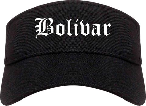 Bolivar Missouri MO Old English Mens Visor Cap Hat Black