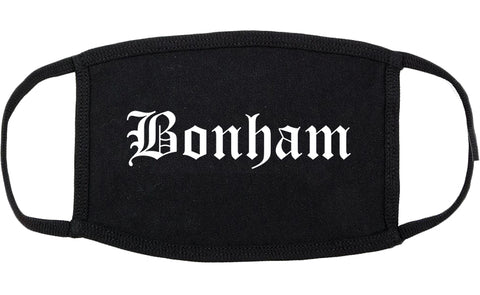 Bonham Texas TX Old English Cotton Face Mask Black