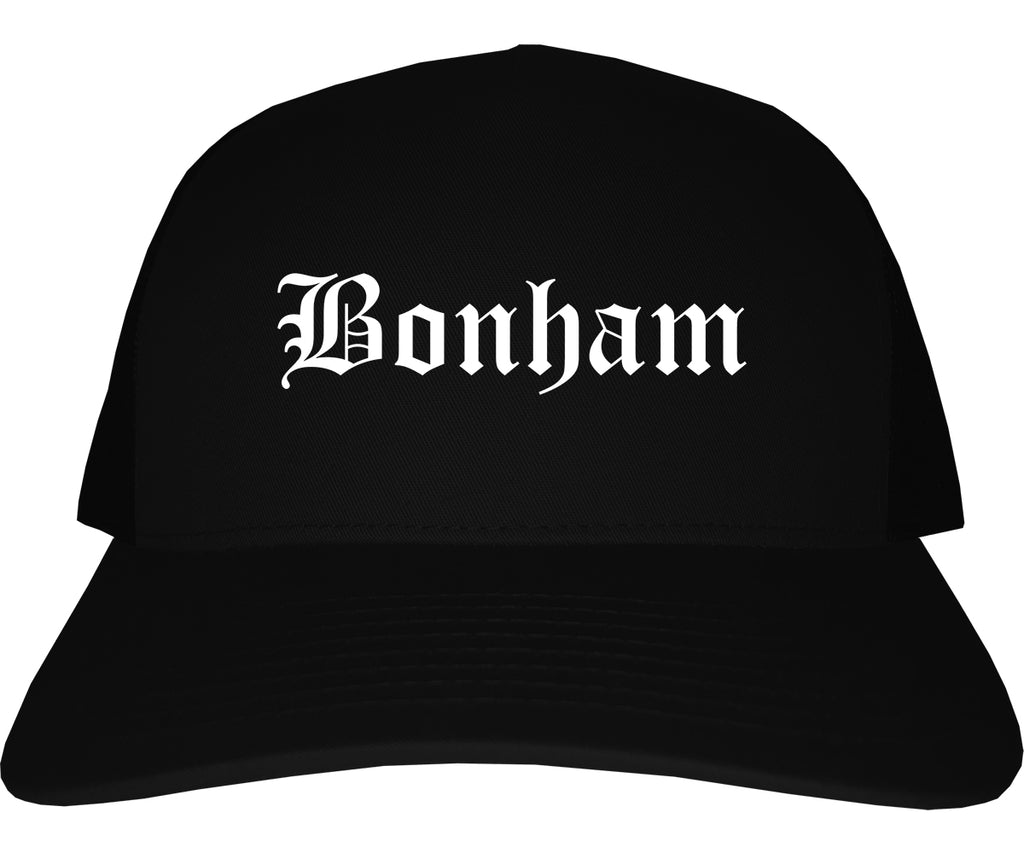 Bonham Texas TX Old English Mens Trucker Hat Cap Black