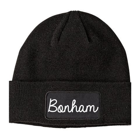 Bonham Texas TX Script Mens Knit Beanie Hat Cap Black