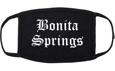 Bonita Springs Florida FL Old English Cotton Face Mask Black
